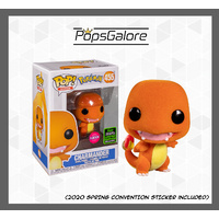 Pokemon - Charmander Flocked 2020 ECCC Spring Convention - Pop Vinyl