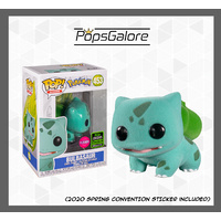 Pokemon - Bulbasaur Flocked 2020 ECCC Spring Convention - Pop Vinyl