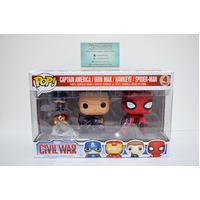 Civil War: Captain America / Iron Man / Hawkeye / Spider-Man 4-Pack - Pop Vinyl & Keychains