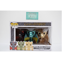 "GOT: Drogon, Rhaegal & Viserion ""Metallic"" - 3-Pack Pop Vinyl **Small window damage"