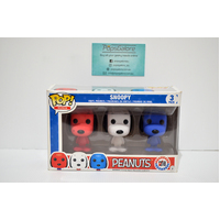 "Peanut: Snoopy ""Red White Blue"" - Mini 3-Pack Pop Vinyl **Old Box Condition"